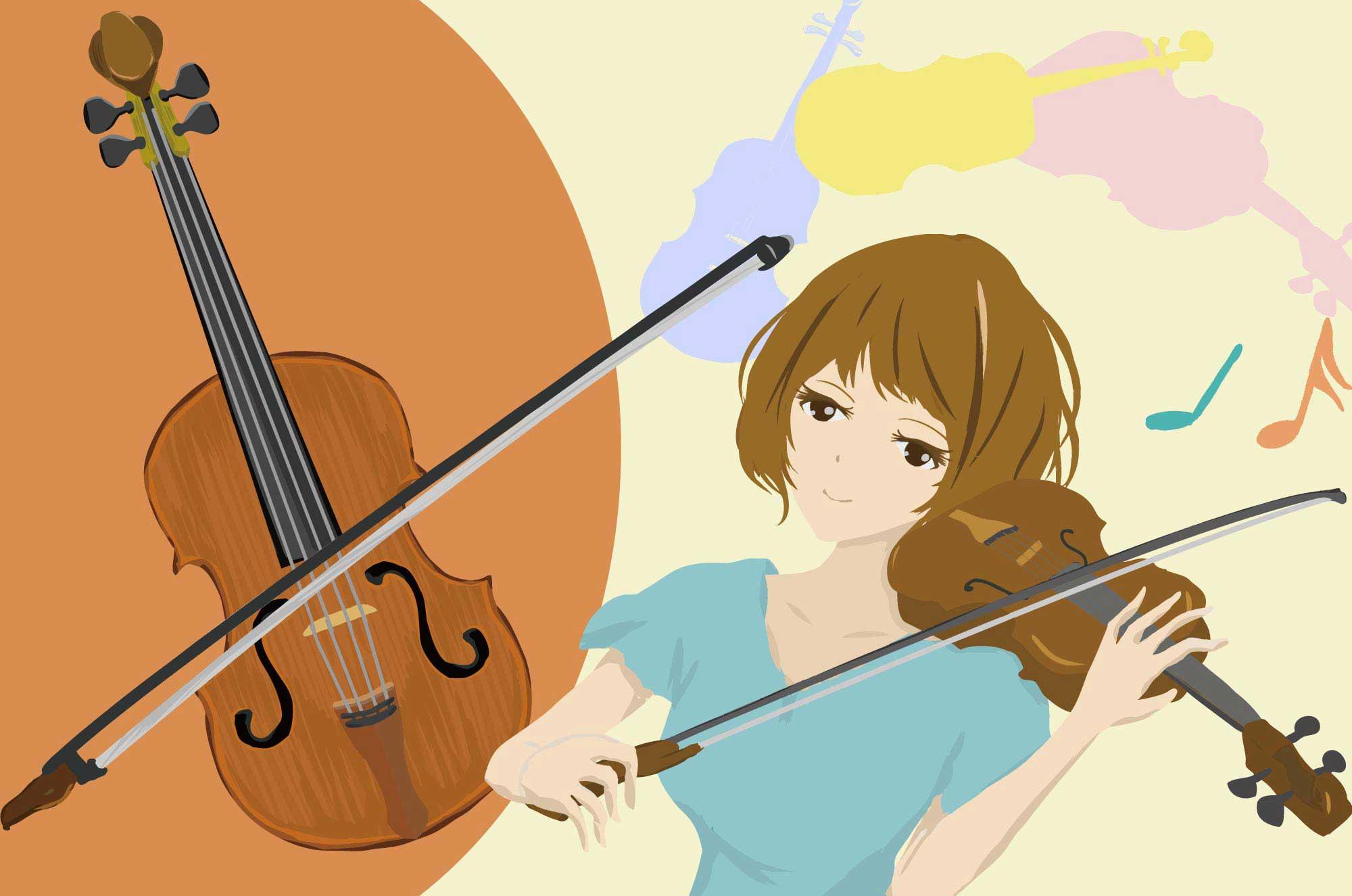 バイオリンのイラスト - 可愛い手描きの楽器無料素材