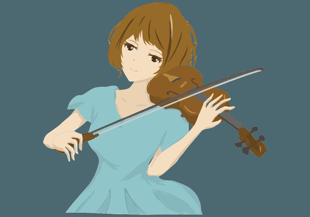 優雅にバイオリンで演奏する女性のイラスト