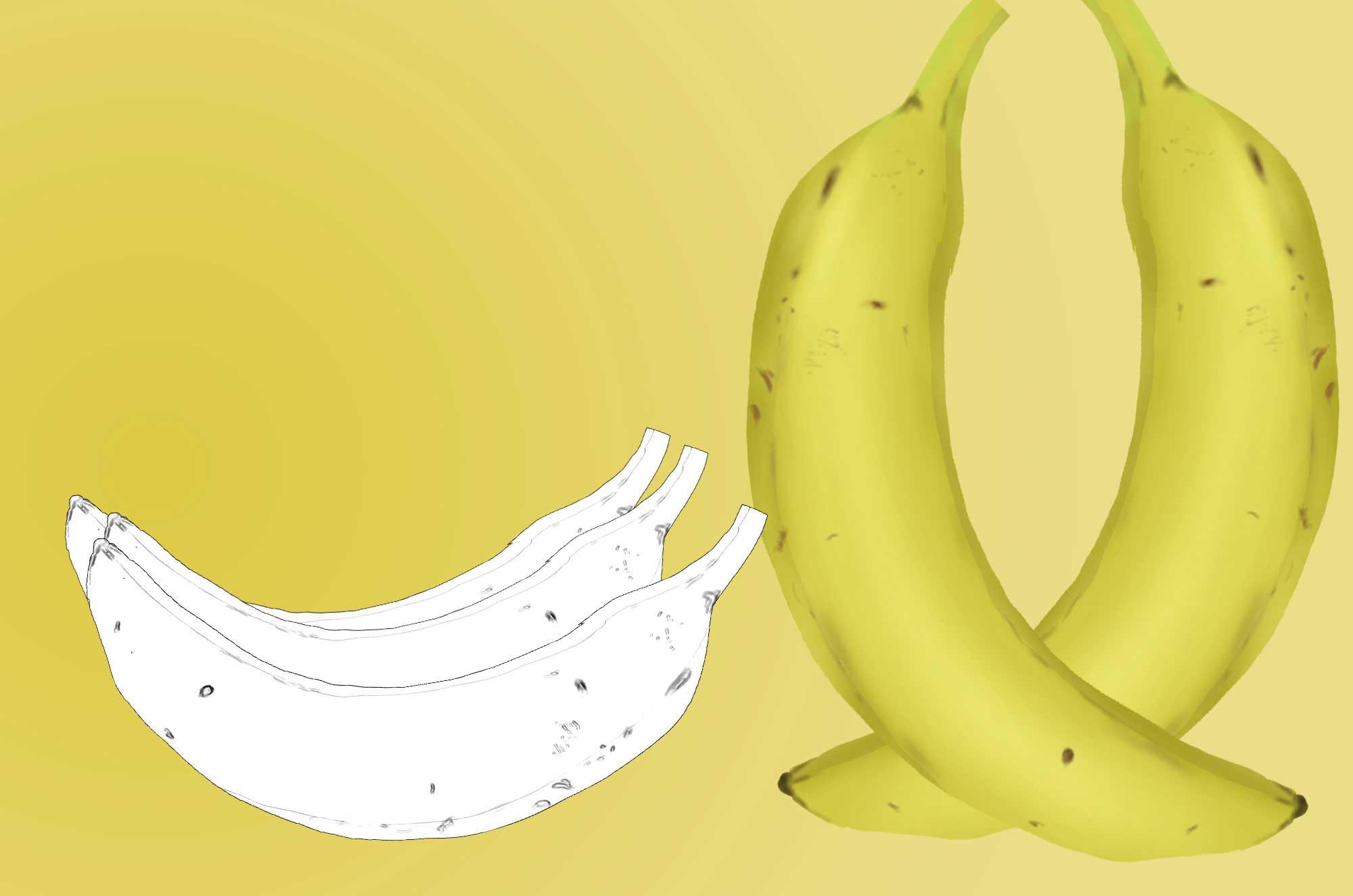 バナナのイラスト - リアル・かわいいフリー素材