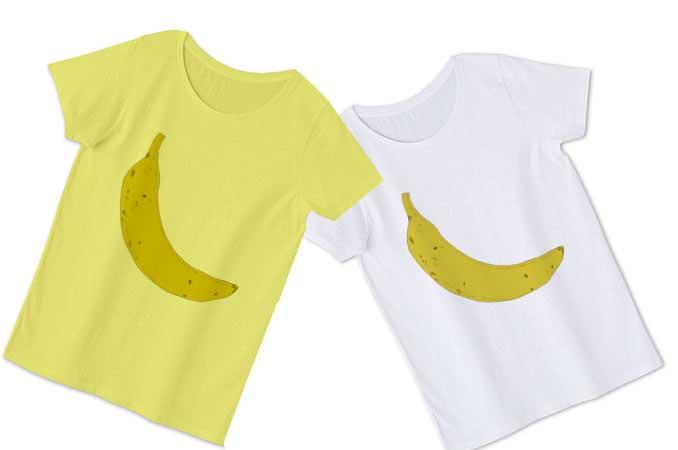 黄色ボディと白ボディのバナナTシャツ