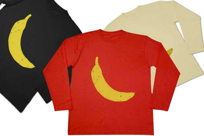 バナナ長袖Tシャツ黒と赤とナチュラルカラー