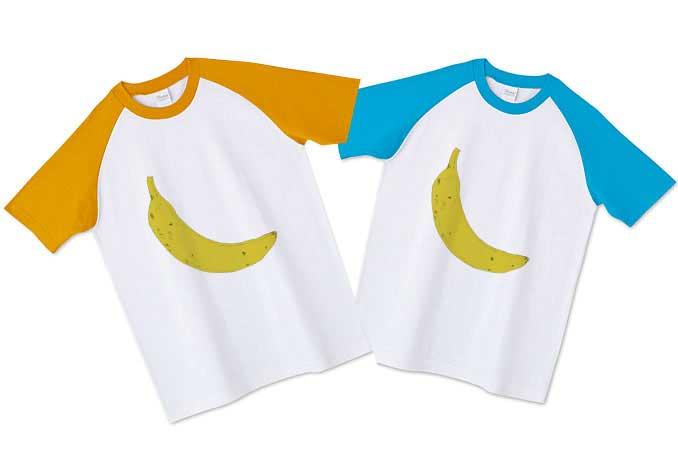 バナナのラグランTシャツオレンジ袖と水色の袖