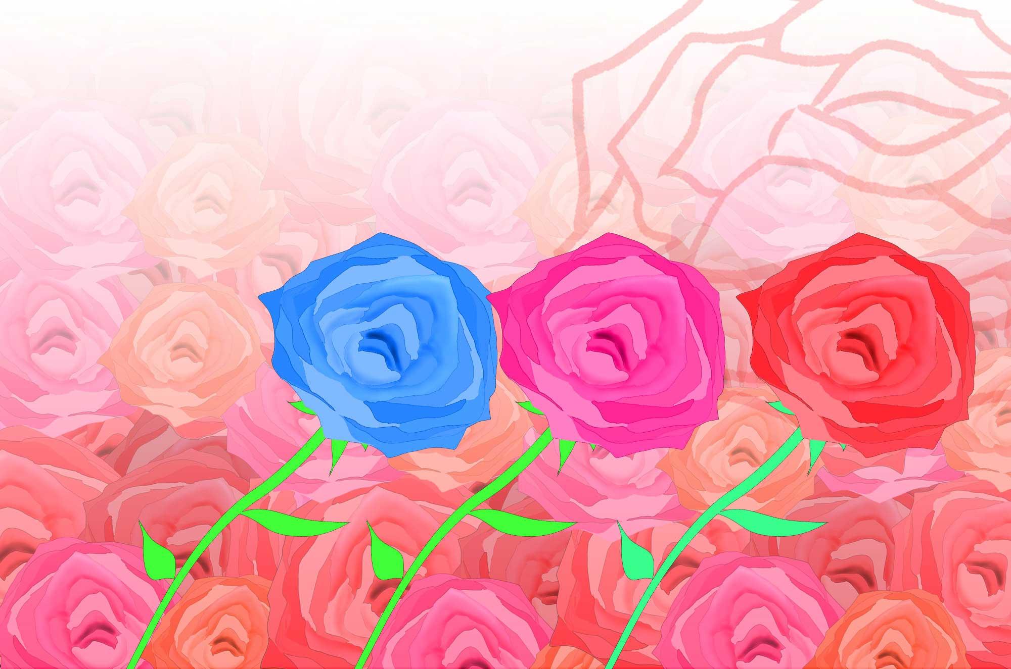 バライラスト - 可愛い薔薇とアートな花の無料素材集