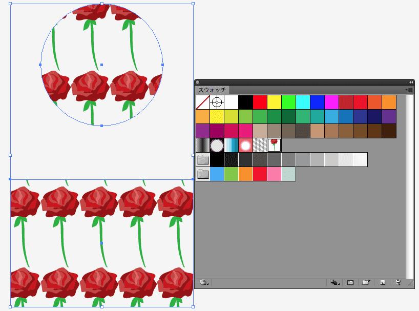 円と四角形の図形にバラのイラストスォッチを反映