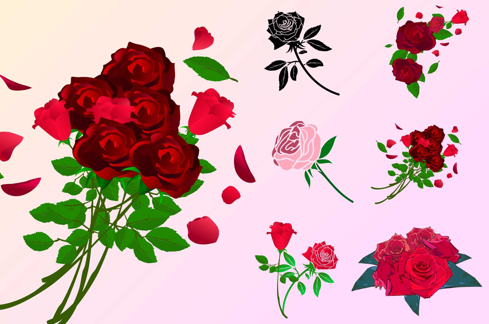 薔薇のフリーイラスト - おしゃれ可愛い花の無料素材