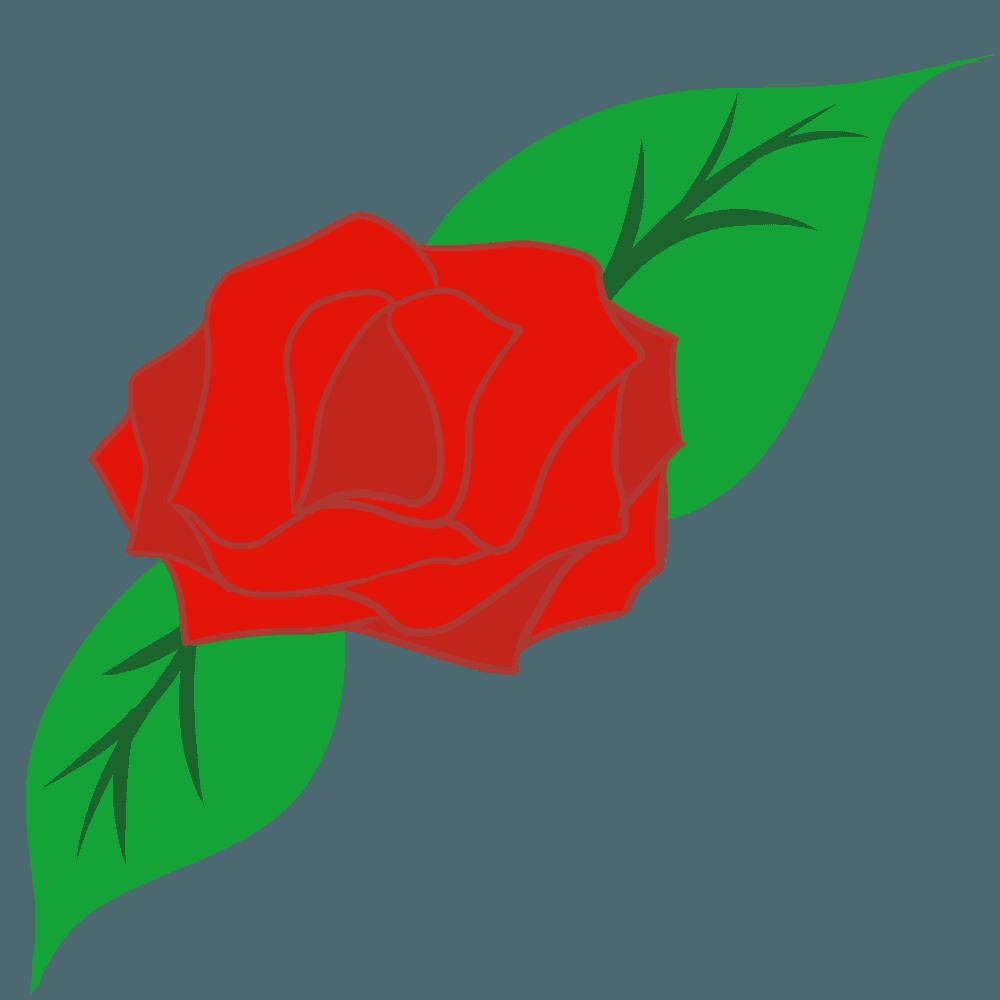 バラと薔薇の葉っぱイラスト