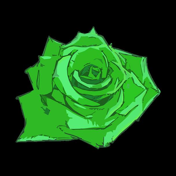 緑の薔薇のイラスト
