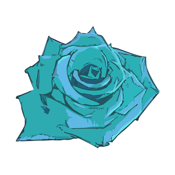 水色の薔薇のイラスト