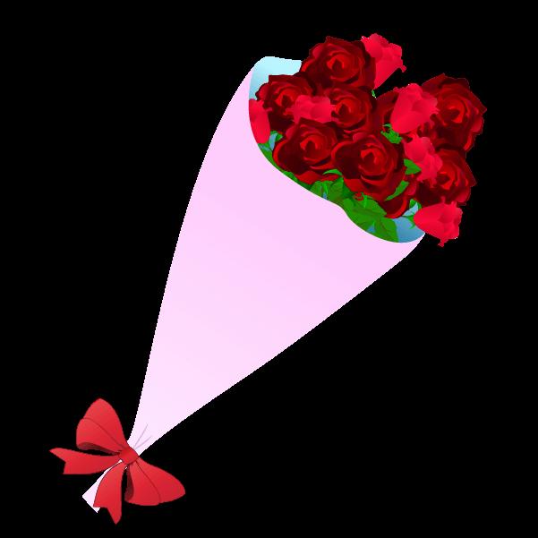 おしゃれな薔薇の花束のイラスト