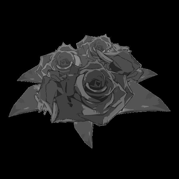 白黒の薔薇のイラスト3