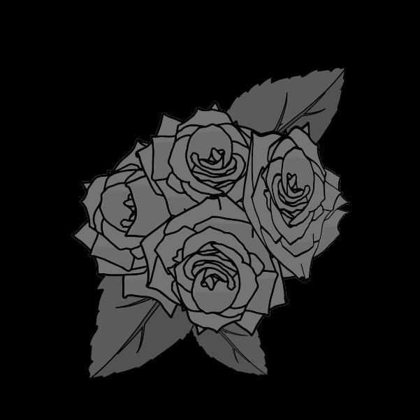 白黒の薔薇のイラスト7