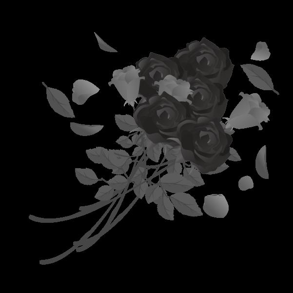 白黒の薔薇のイラスト17