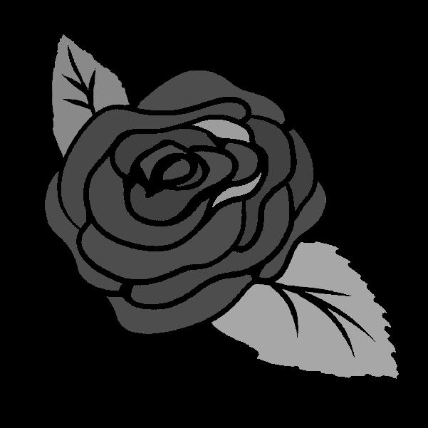 白黒の薔薇のイラスト24