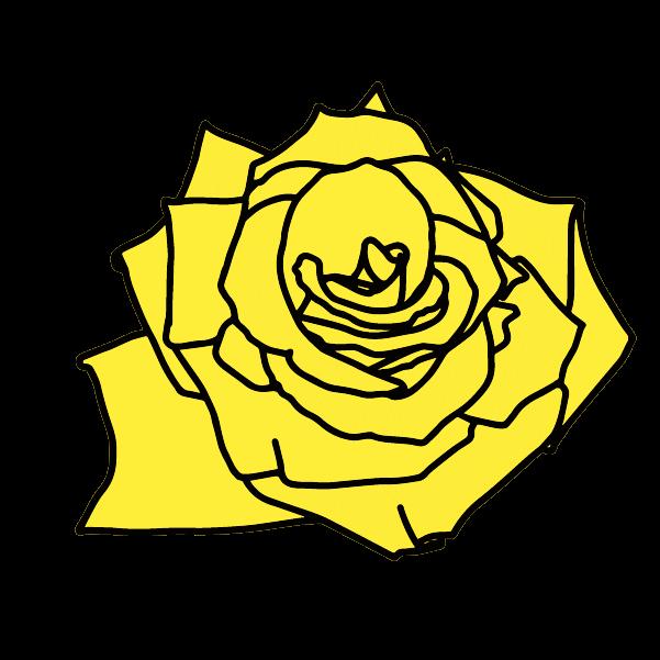 黄色い薔薇の花びらのイラスト