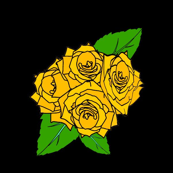 黄色い薔薇の花びらと葉のイラスト