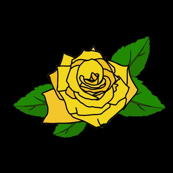黄色い薔薇の花びらと葉のイラスト2