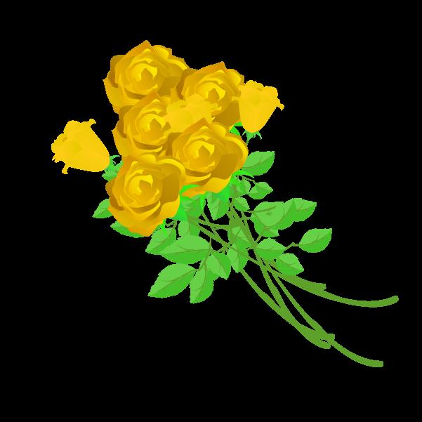黄色い薔薇の花束のイラスト