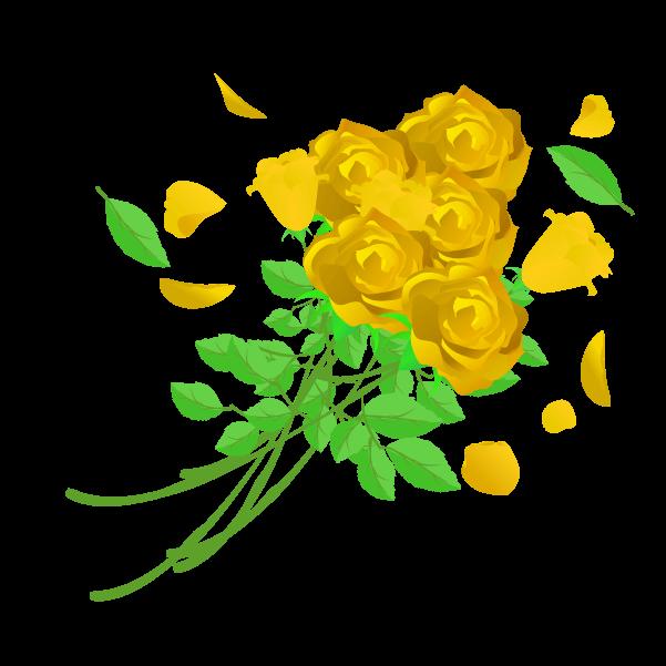 黄色い薔薇の花束のイラスト2