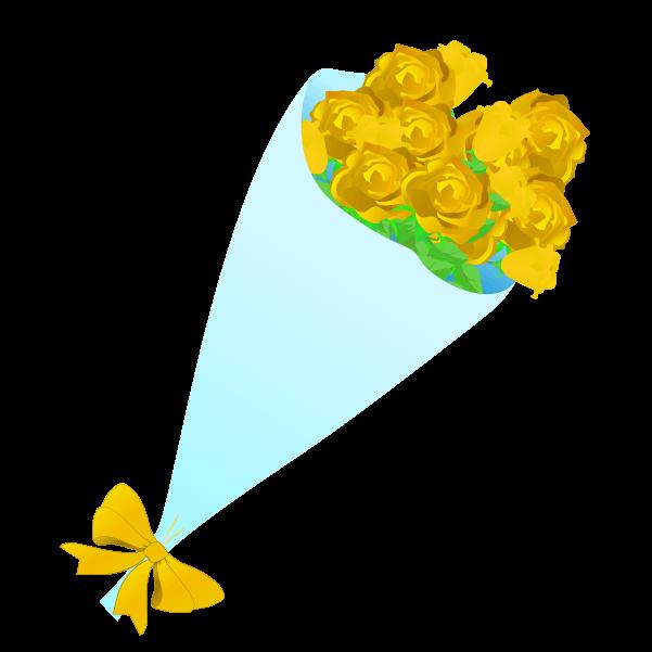 黄色い薔薇の花束のイラスト3