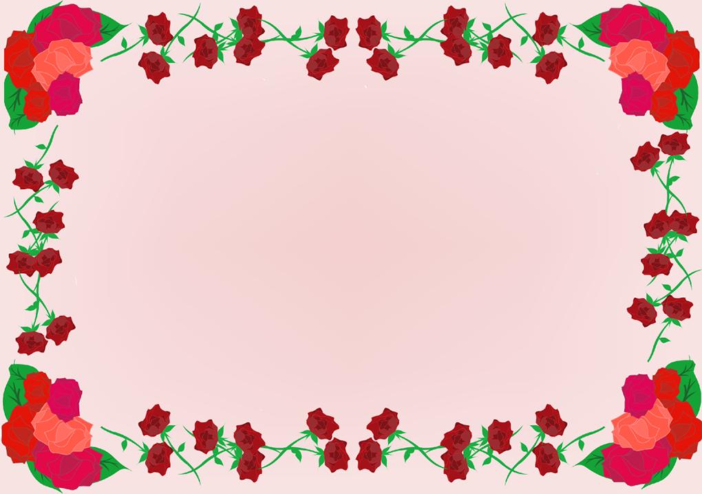 バラの四角フレーム(背景あり1020×718)