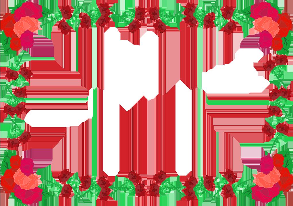 バラの四角フレーム(背景なし1020×718)