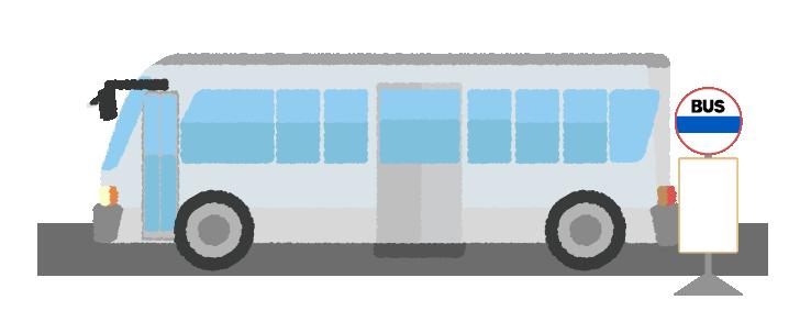 バスとバス停のイラスト