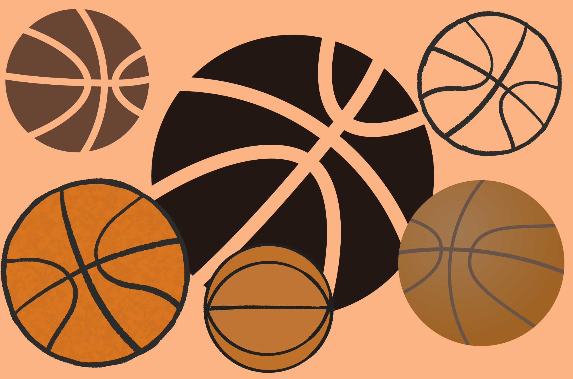 可愛いバスケットボールの無料イラスト素材