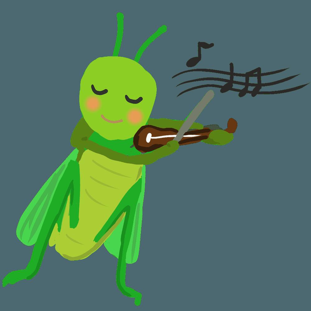 バイオリンを演奏するバッタイラスト