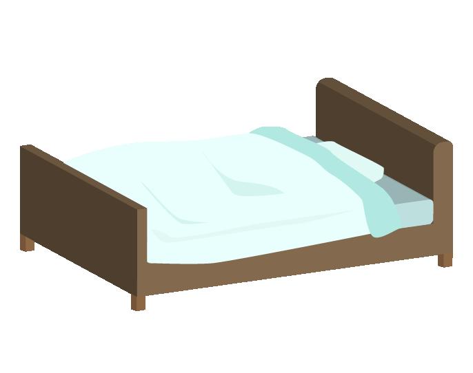 斜め上からみた青いシングルベッドベッドのイラスト