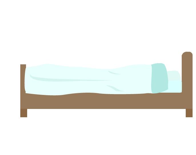 横からみた青いシングルベッドのイラスト