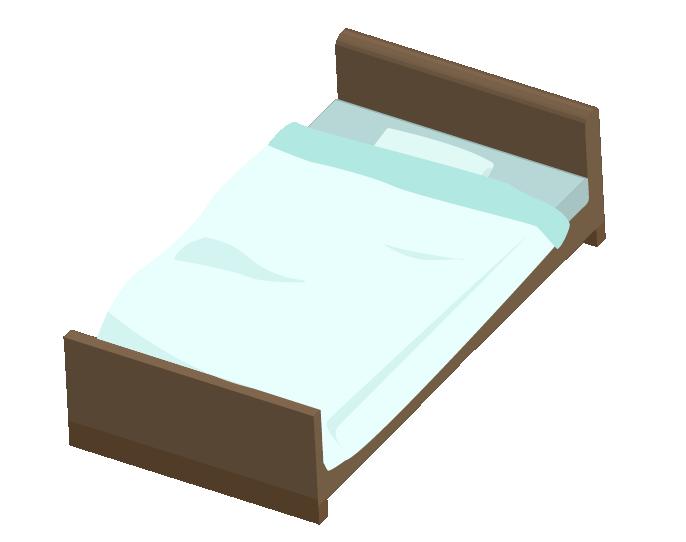 上からみた青いシングルベッドのイラスト