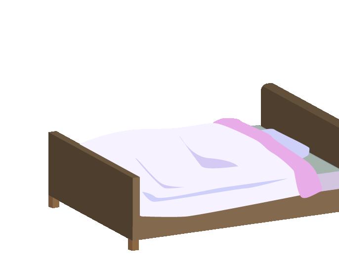 斜め上からみたピンクのシングルベッドのイラスト