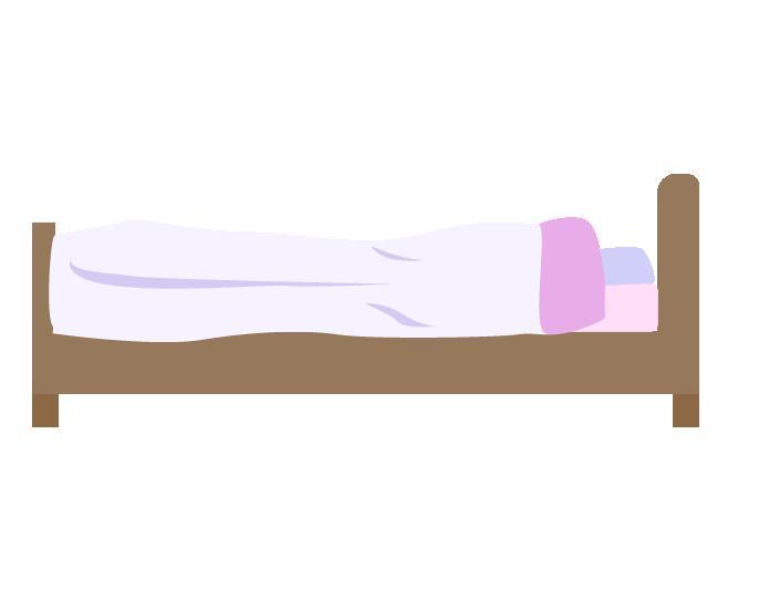 横から見たピンクのシングルベッドのイラスト