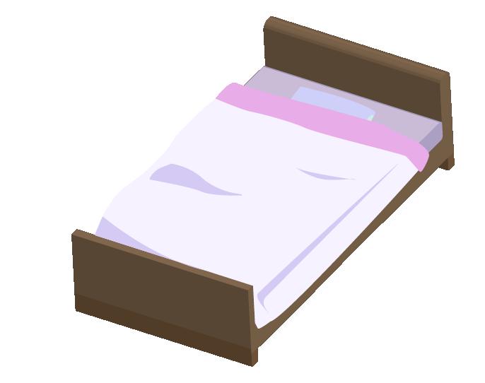 上からみたピンクのシングルベッドのイラスト