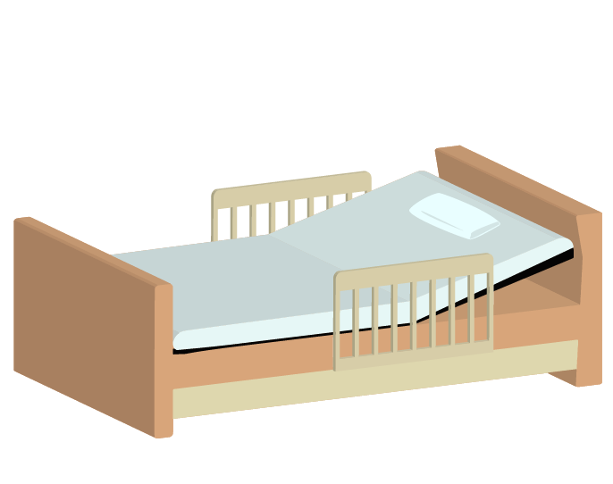 斜め上から見た介護用ベッドのイラスト
