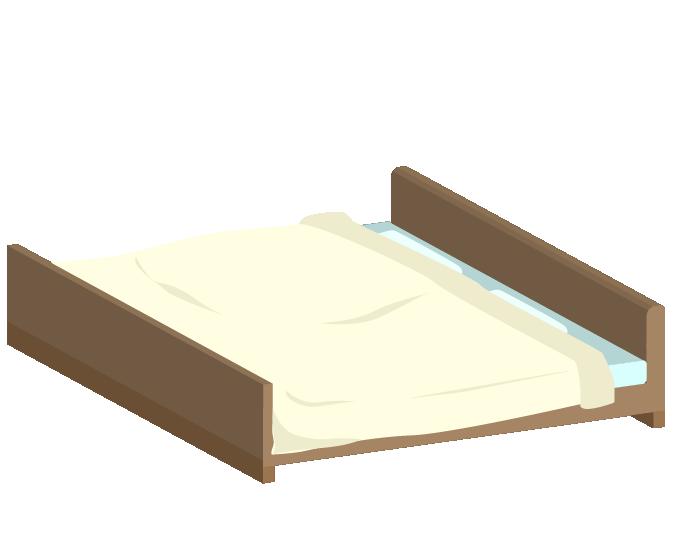 ダブルベッドのイラスト