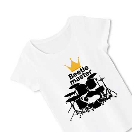 カブトムシとドラムセットのレディースTシャツ
