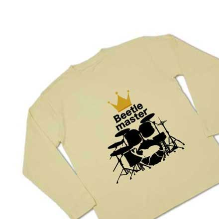長袖ドラム&カブト虫Tシャツ カーキーTシャツ