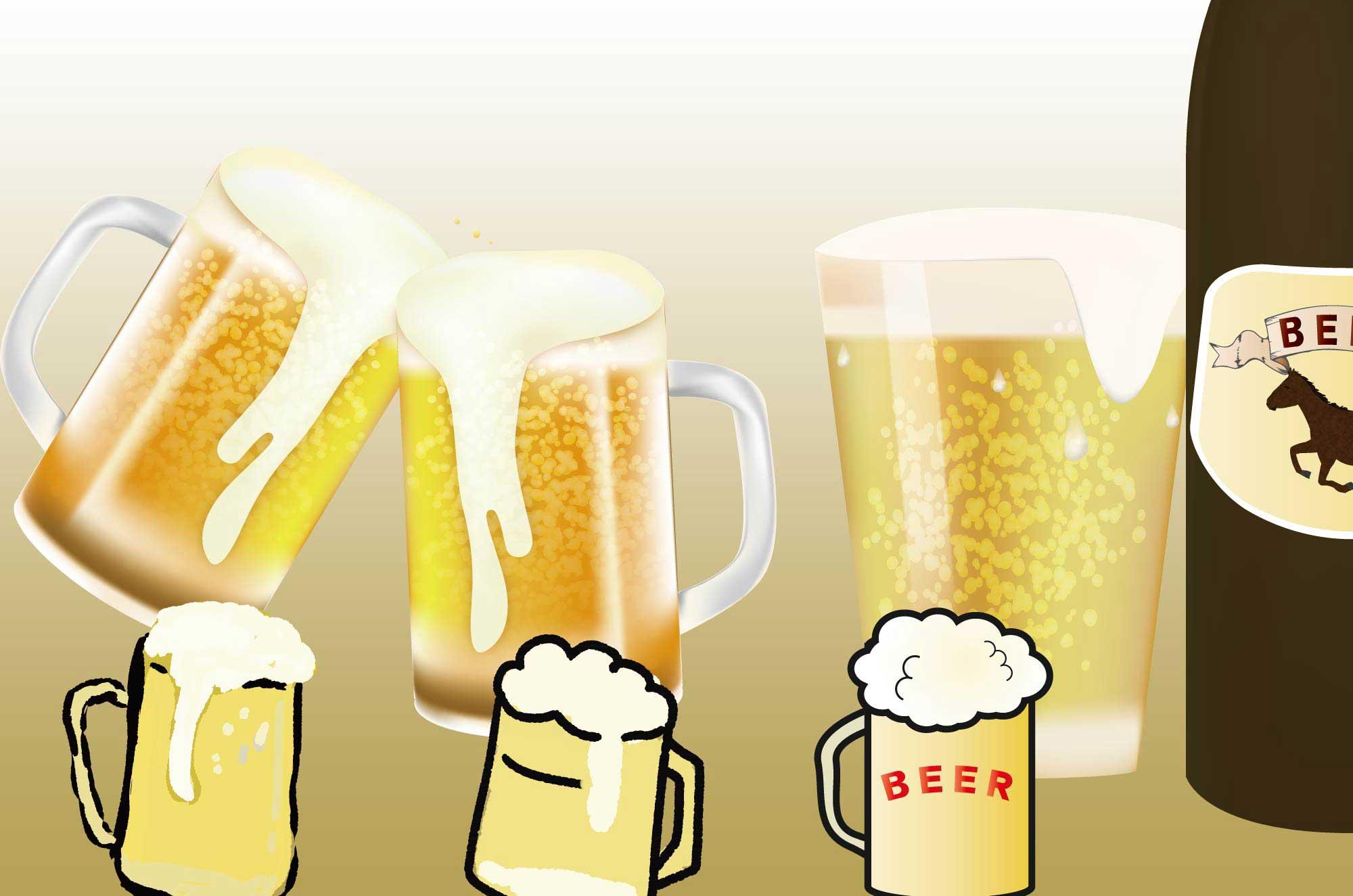 ビールのイラスト - 麦芽が弾ける美味しそうな無料素材