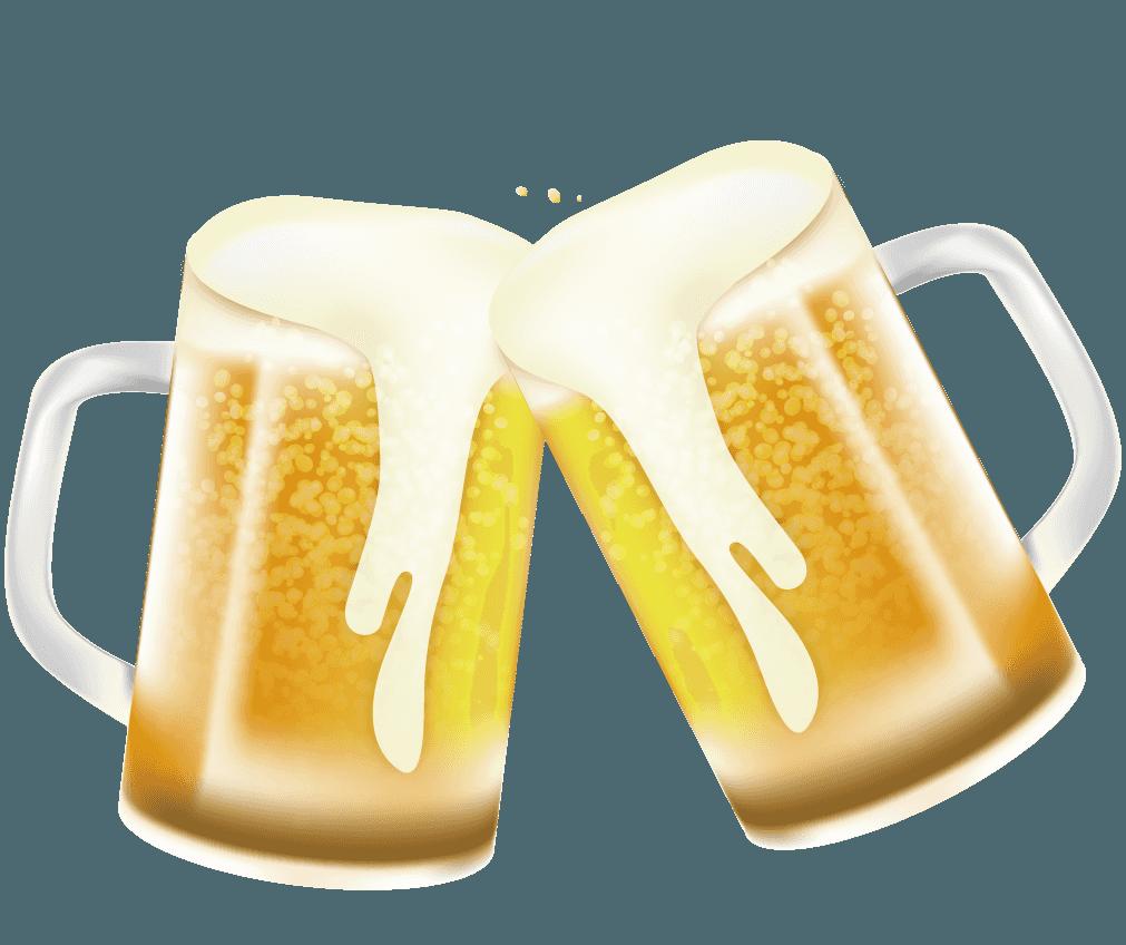 ビールジョッキで乾杯!イラスト