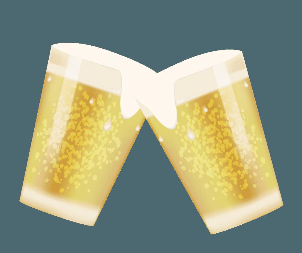 コップで乾杯するビールイラスト