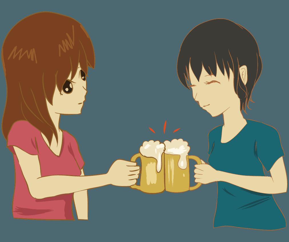 女子会ビールで乾杯するシーンイラスト