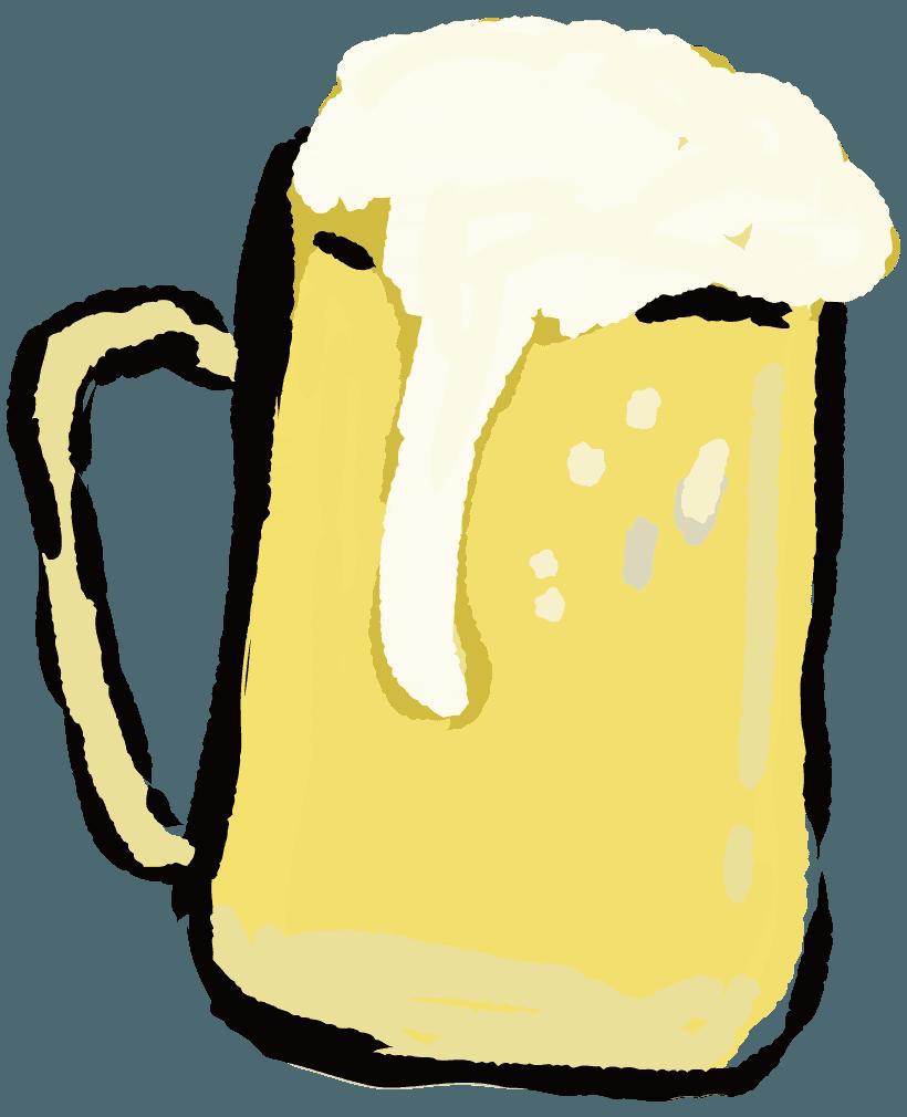 手描きで描いたアートなビールイラスト