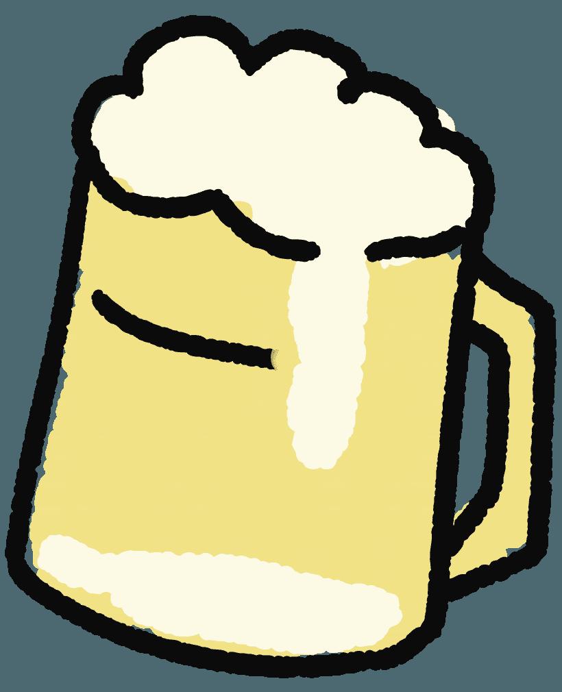 手描きの可愛いビールイラスト