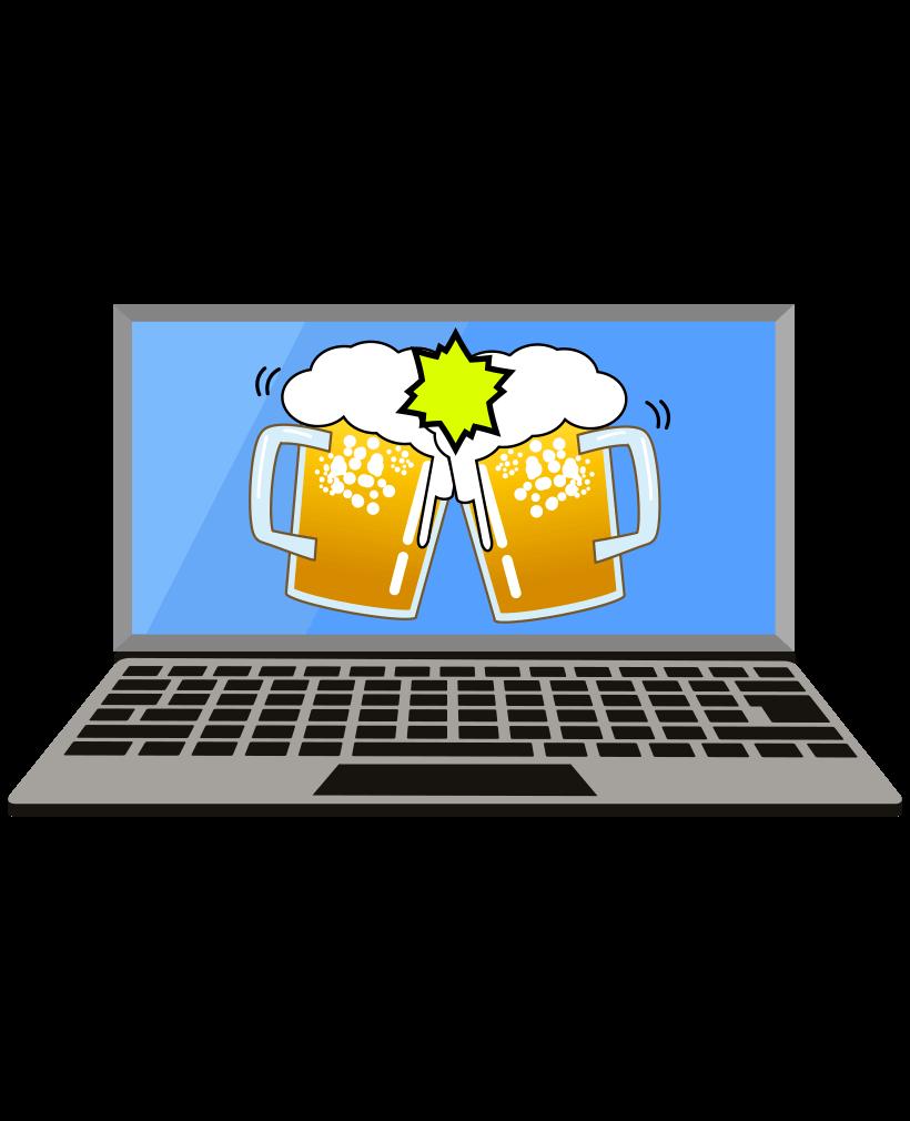 パソコンとビールのイラスト