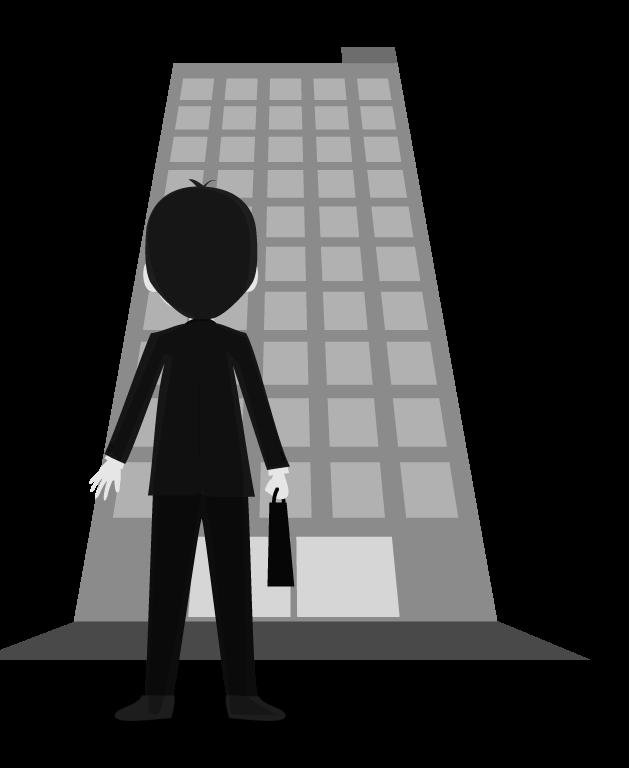 白黒のビルとビジネスマンのイラスト