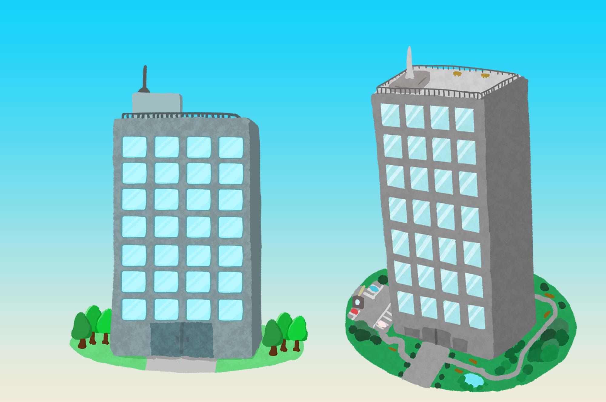 手書きの可愛いビルのイラスト - 会社/企業のイメージに