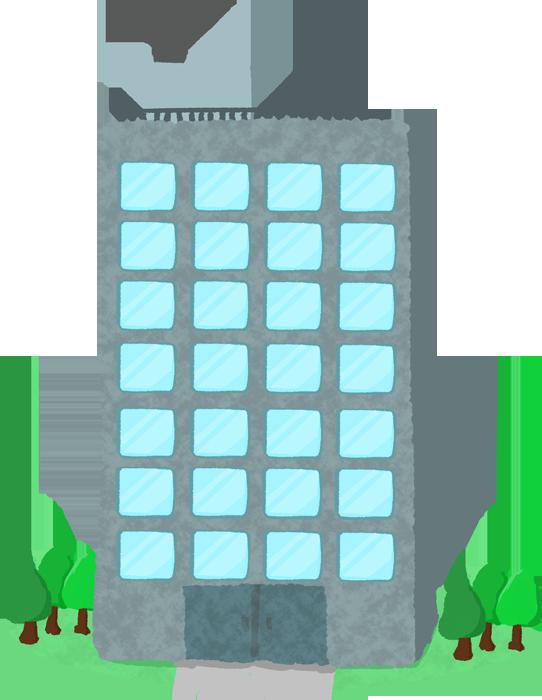正面からみたビルのイラスト