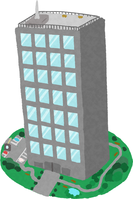 斜めからみたビルのイラスト