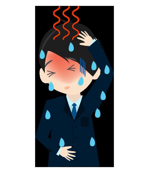 発熱ビジネスマンのイラスト